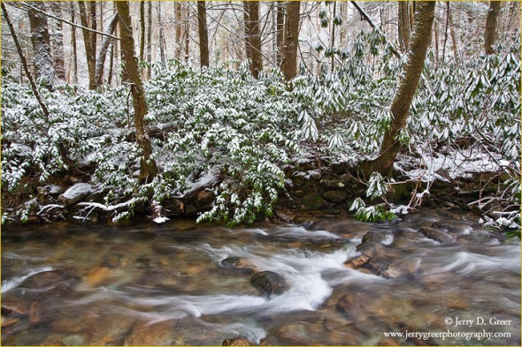 Snow blankets the forest along Rocky Fork, Unicoi County, Tennes